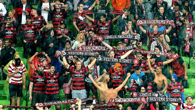 Melbourne Heart v Western Sydney Wanderers at AAMI Park., Wanderers fans celebrate the 3-1 win Picture: Salpigtidis George