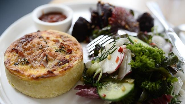 Ham and cheddar tart with homemade tomato chutney. Picture: Richard Hatherly
