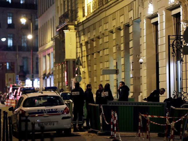 Police stand in rue Cambon at the back entrance of the Ritz luxury hotel. Picture: Thomas Samson