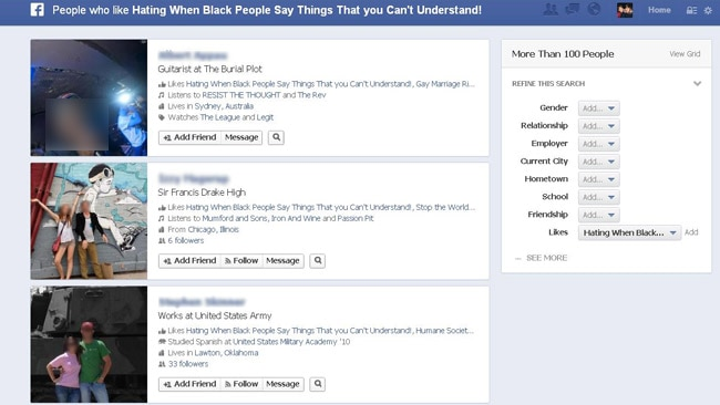 Again, is racism the very first thing you want people to associate with your Facebook profile?