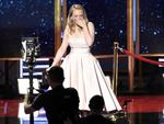 """Elisabeth Moss reacts onstage while accepting the award for outstanding drama series for """"The Handmaid's Tale"""" at the 69th Primetime Emmy Awards on Sunday, Sept. 17, 2017, at the Microsoft Theater in Los Angeles. Picture: AP"""