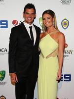 Nathan Coulter-Nile and partner Ruby Osman-Mulraney on the red carpet of the 2014 Allan Border medal. Pic Brett Costello