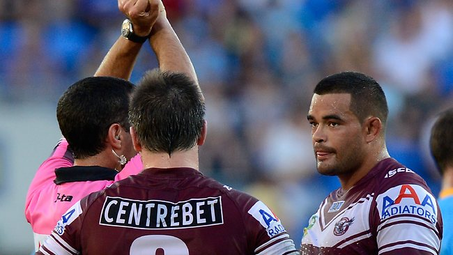 Richie Fa'aoso of the Sea Eagles is put on report after a late hit on Ashley Harrison.