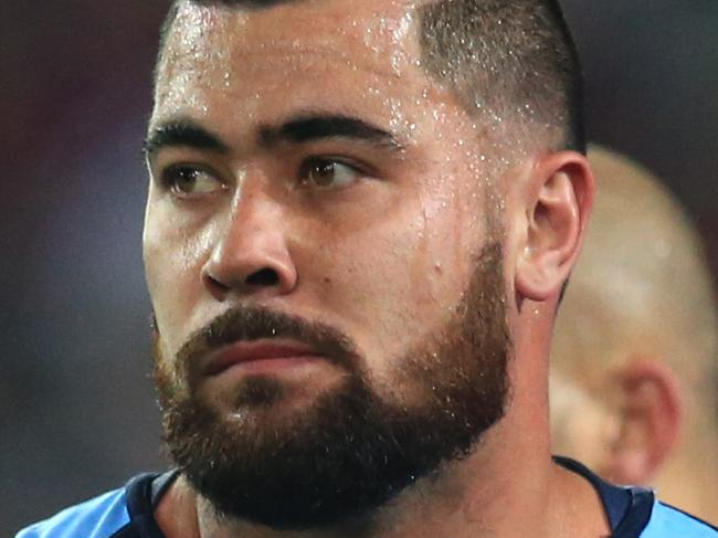 Andrew Fifita after Dane Gagai scored for Queensland   during  NSW v QLD State of Origin 2 game at ANZ Stadium, Sydney Olympic Park. pic Mark Evans