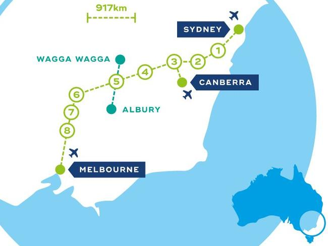 Fast Train Melbourne To Sydney New Proposal By CLARA Released - Sydney map world