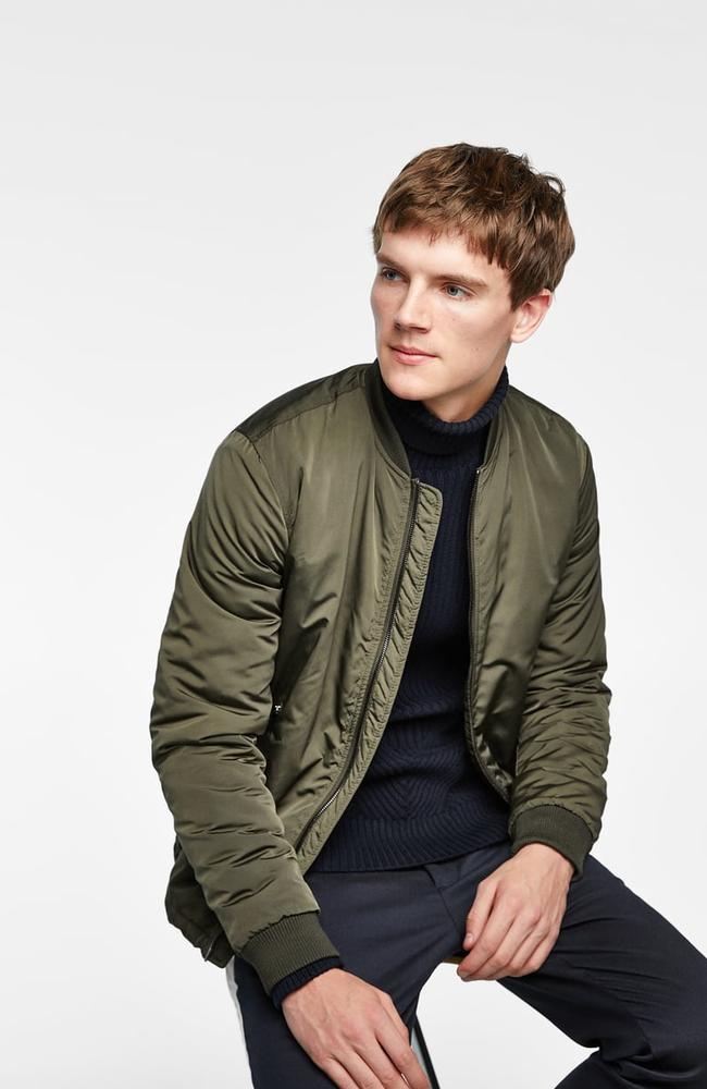 Quilted bomber jacket, $89.95.