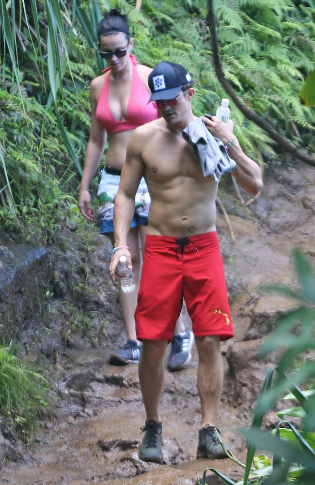 Katy Perry and Orlando Bloom on a hike in Hawaii. Picture: Splash News