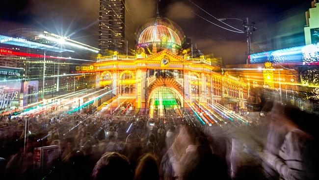 Flinders Street Station during the White Night Festival. Photo: Hamish Blair