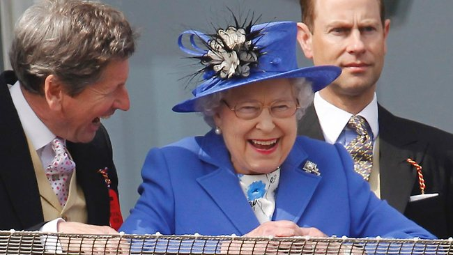 The Queen reacts as she watches the Epsom Derby horse race at the start of a four-day Diamond Jubilee celebration to mark the 60th anniversary of her accession to the throne, June 2, 2012. Picture: AP