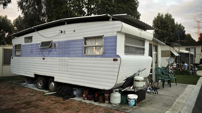 The caravan where Brett Cowan lived. Picture: Theo Fakos.