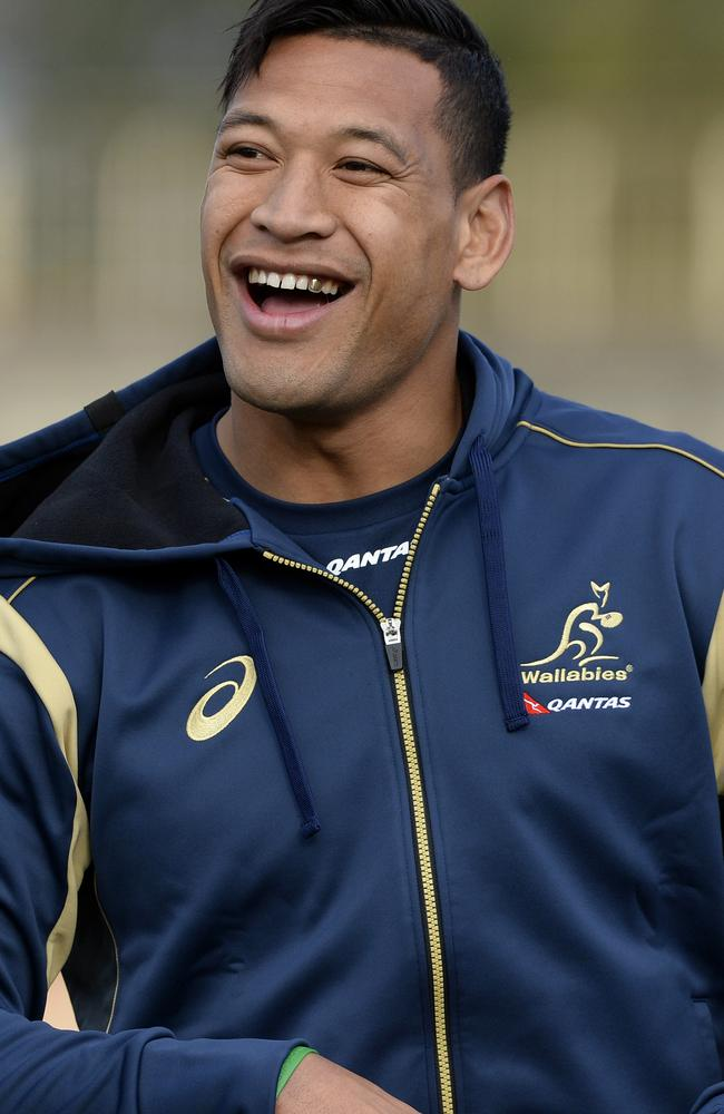 Folay enjoys a laugh at Wallabies training.