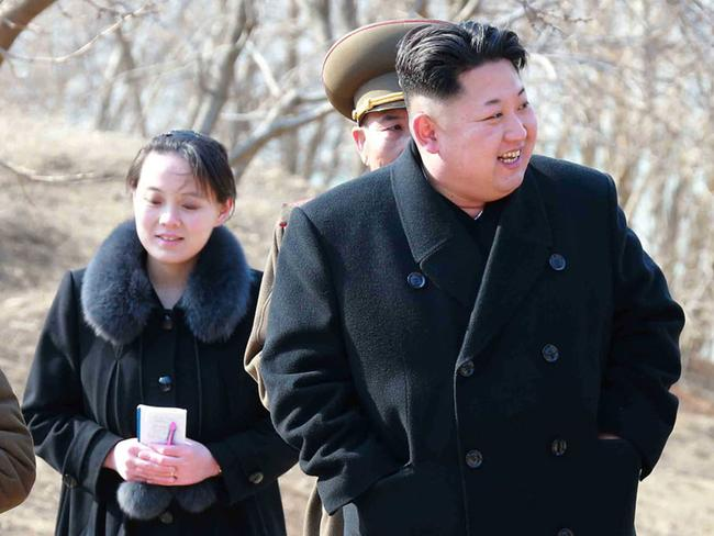 Kim Yo-Jong, vice department director of the Central Committee of the Worker's Party of Korea (WPK) and younger sister of North Korean leader Kim Jong-Un, inspecting the Sin Islet defence company in Kangwon province. Picture: AFP / KCNA via KNS