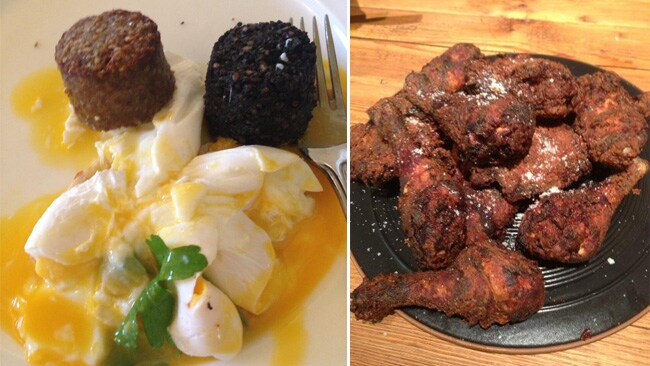 Nigella's attempts at poached eggs (l) and fried chicken (r), posted on Twitter.