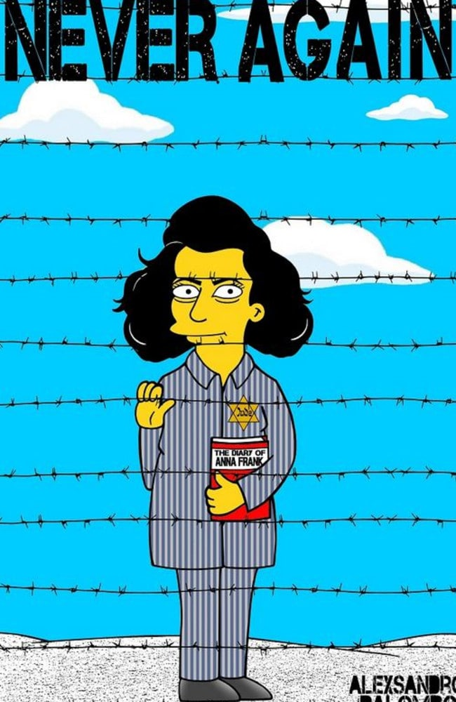 Simpsonified ... Anne Frank gets the Simpsons' treatment. Picture: Supplied