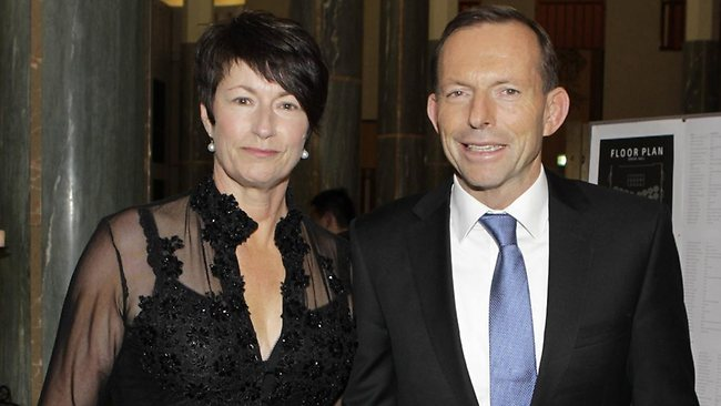 Tony Abbott and wife Margie at Parliament House in Canberra for the annual Parliamentary Midwinter Ball. Picture: Ray Strange