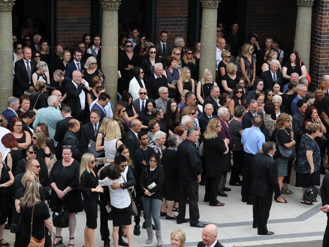 Friends and family at the funeral for Lars, Vivian and Annabelle Falkholt. Picture: David Swift.