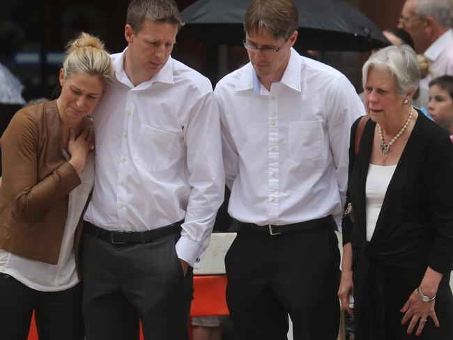 Katrina Dawson's family members at Martin Place. Picture: John Grainger
