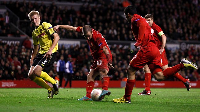 Liverpool's Joe Cole scores against BSC Young Boys during their Europa League Group A match at Anfield. Picture: Jon Super