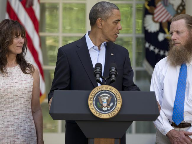 Executive disorder ... President Barack Obama with Bowe's parents Bob and Jani Bergdahl.