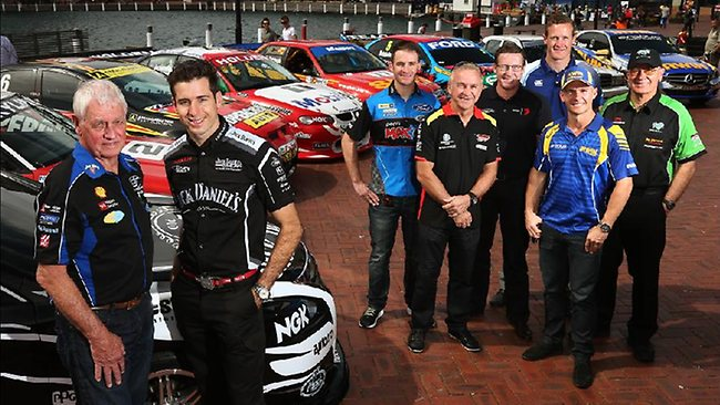 Dick Johnson, Rick Kelly, Will Davison, Russell Ingall, Mark Skaife, George Miedecke, Lee Holdsworth and Jim Richards at Darling Harbour yesterday to launch this years Bathurst 1000, which runs from October 10-13 at Mount Panorama. Picture: Toby Zerna