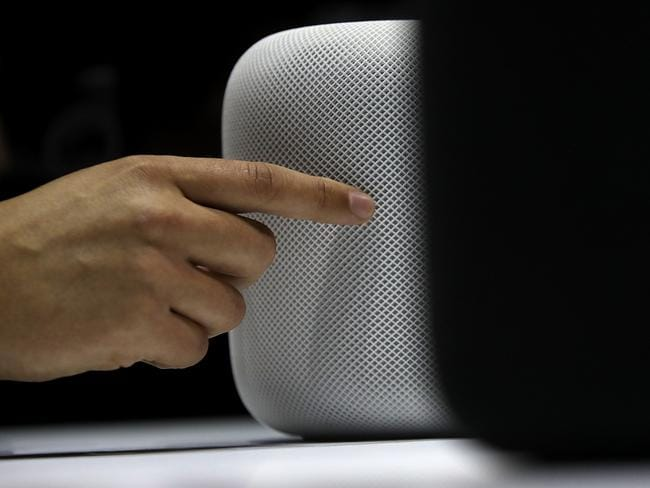 The HomePod is Apple's first artificially intelligent speaker. Picture: Justin Sullivan/Getty Images/AFP
