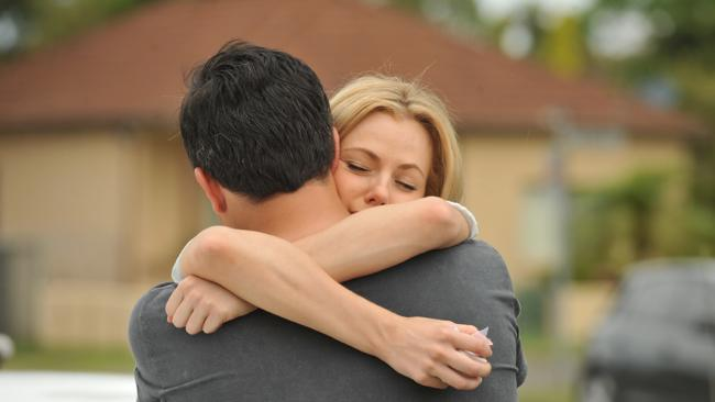 Jessica Marais with James Stewart in her final scenes on Packed to the Rafters.