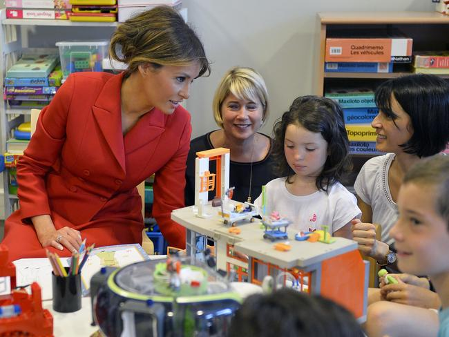 Melania Trump speaks with children as she visits Necker Hospita in Paris. Picture: Aurelien Meunier/Getty Images