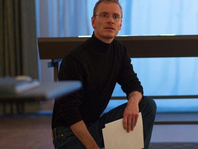 Fassbender transforms into Steve Jobs thanks to a turtleneck and Seinfeld jeans.