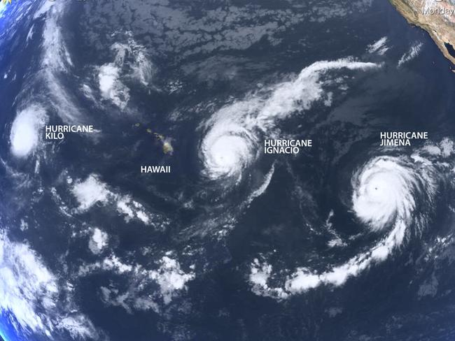 Track of titans ... A composite image showing the hurricanes currently over the Pacific. Source: LivingEarth