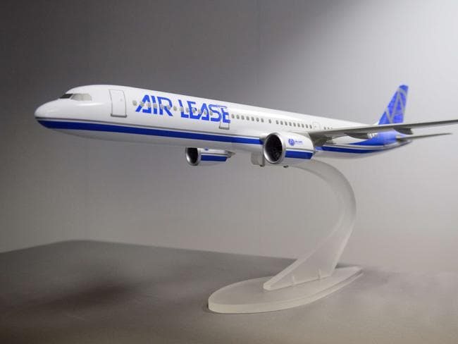 A model of the Airbus A330-900 NEO aircraft is displayed at the Farnborough air show.