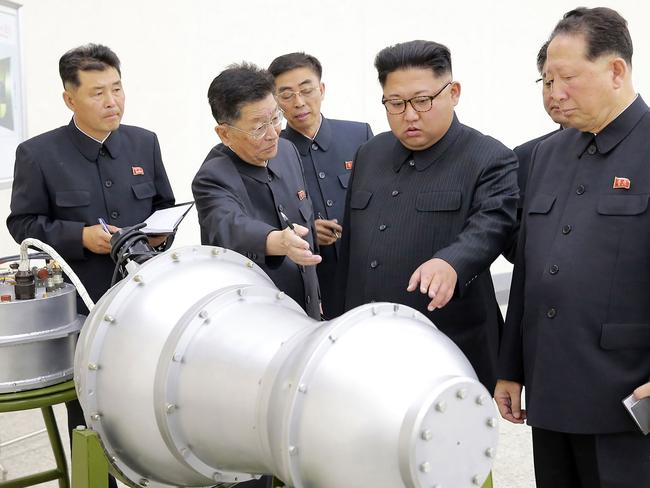 North Korea claims to have developed a hydrogen bomb which can be loaded into the country's new intercontinental ballistic missile. Picture: KCNA/AFP
