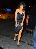 Rihanna was spotted looked dapper and sexy at the same time while she stepped out for dinner in NYC. She dined in Soho with friends, while wearing a short Black dress, with a white border and straps. She sported a more Elegant hairstyle and overall look, as she gets prepped for her NYC Tour stop. Picture: Splash