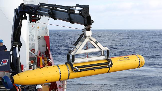 Autonomous Underwater Vehicle (AUV) Bluefin-21 is craned over the side of ADV Ocean Shield in April. Photo: Australia Department of Defence.
