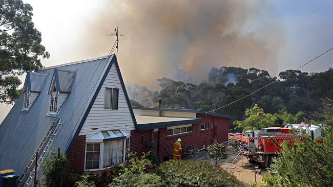 Fires threaten homes again in Darraweit Guim. Picture: Alex Coppel