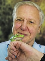 Naturalist David Attenborough, host of TV documentary 'Life in Cold Blood' with a tiny frog on his hand.