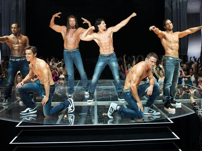 Kevin Nash (third from left) and the cast of Magic Mike XXL.
