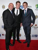 Darren Lehmann , James Faulkner and Nathan Lyon on the red carpet arriving at the 2014 Allan Border Medal held at Doltone House at Hyde Park. Picture: Richard Dobson