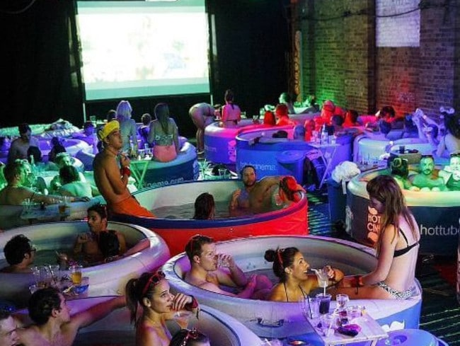 "The UK pop-up events are hugely popular, although a boozy movie-night in human soup may not be everyone's idea of a good night out. Picture: Hot Tub Cinema Facebook  <a class=""capi-image"" capiid=""3a145dd78ddc6af5b45c5e0143505664""></a>"