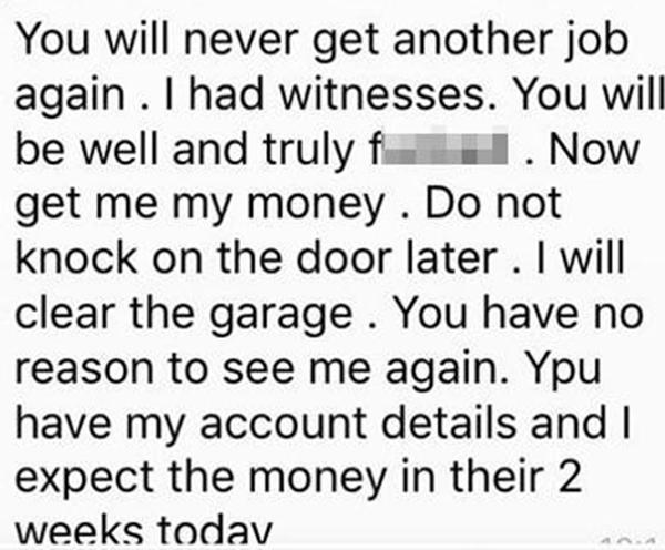She tells him 'You will never get another job again' in texts sent to him before she went to the police. Picture: The Sun
