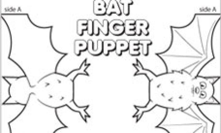 Bat finger puppet template