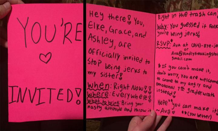 Young girl shuts down her sister's bullies in the best way possible