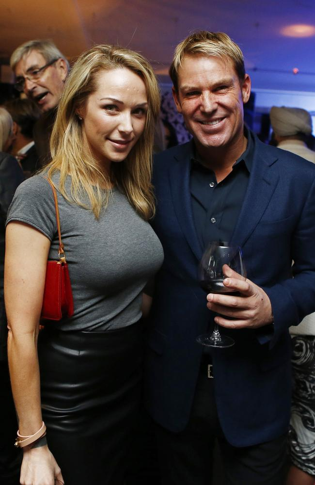 Relationship rumours... Shane Warne and Emily Scott at Jeff Fenech's 50th birthday party in Sydney.