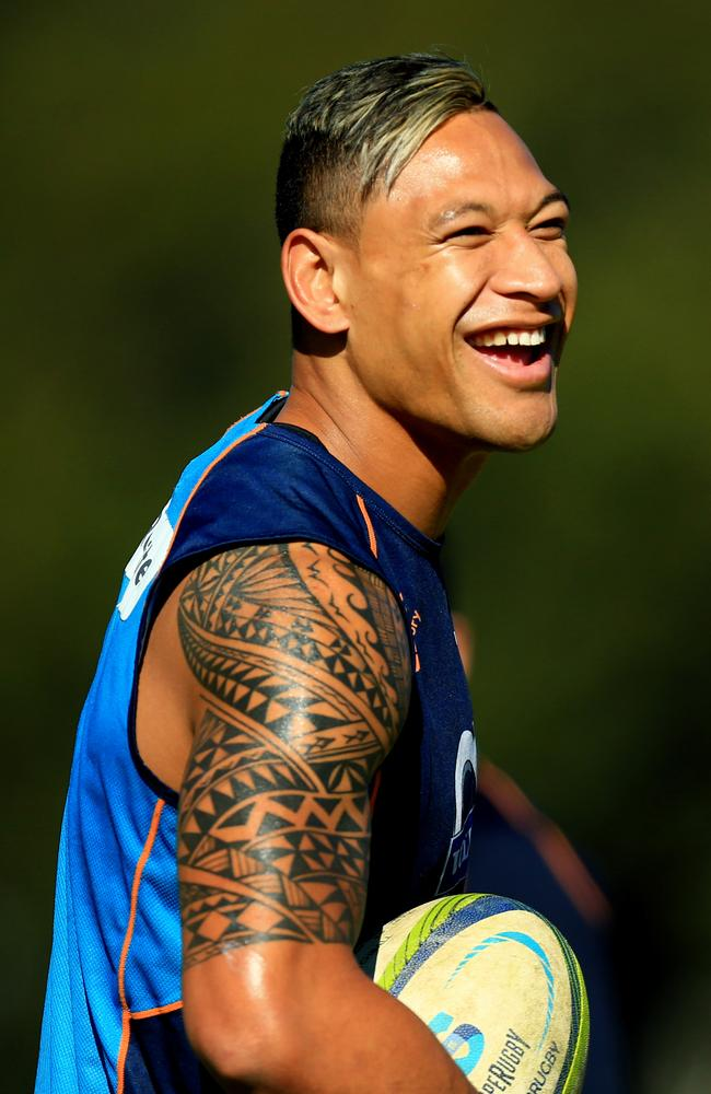 Israel Folau is all smiles at Waratahs training.