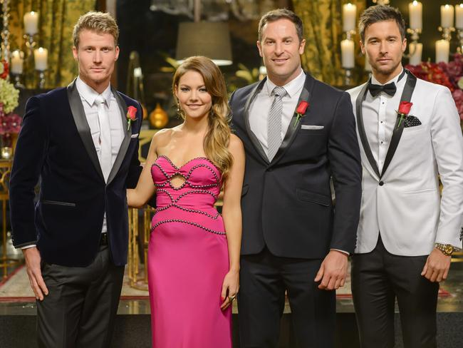 Sam Frost with her final three gents: Richie Strahan, Sasha Mielczarek, Michael Turnbull.