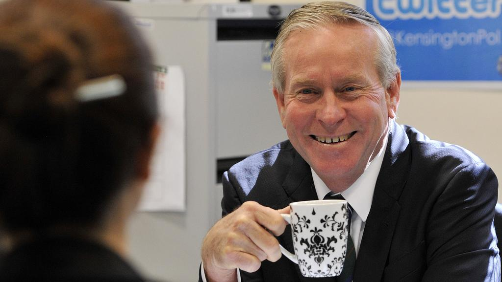 Premier Colin Barnett with reporter Claire Bickers during Coffee with Colin. Picture: Stewart Allen
