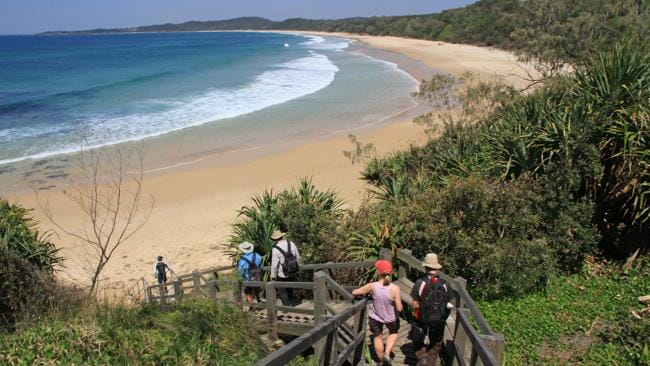 Walkers tackle a section of the 65km Yuraygir 65 km coastal walk.