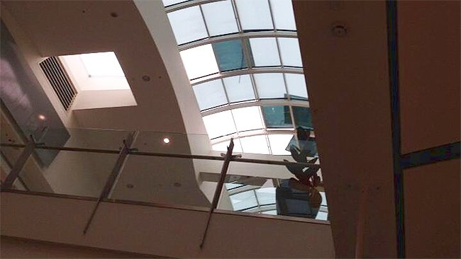 The roof caving in at a Westfield in Hornsby. Picture: Twitter