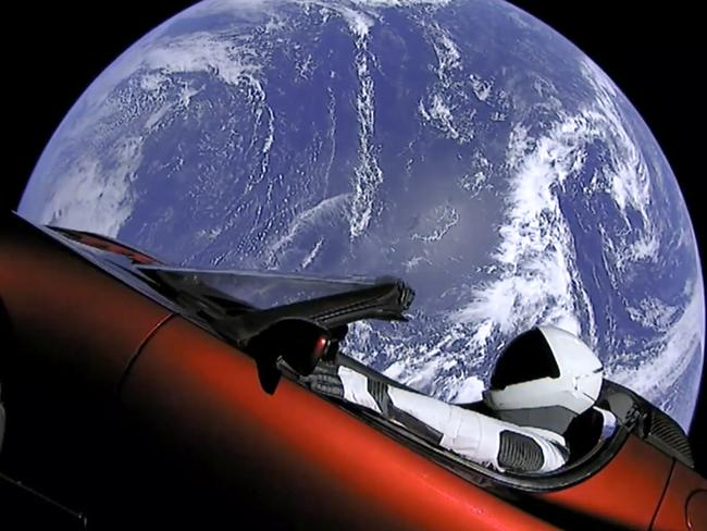 Hang in there, Starman! Picture: SpaceX via AP