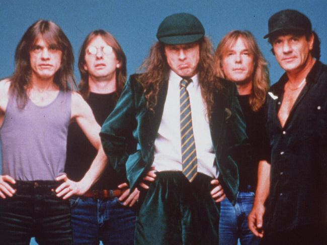 Heavy metal band AC/DC members Angus Young, Brian Johnson, Cliff Williams, Malcolm Young & Phil Rudd. Picture: Supplied