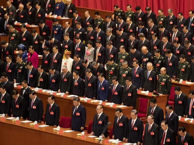 China's top communist leaders assemble for the 19th Party Congress in Beijing on Wednesday. Picture: Ng Han Guan/AP